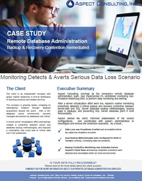 Case Study DB Data Loss Averted